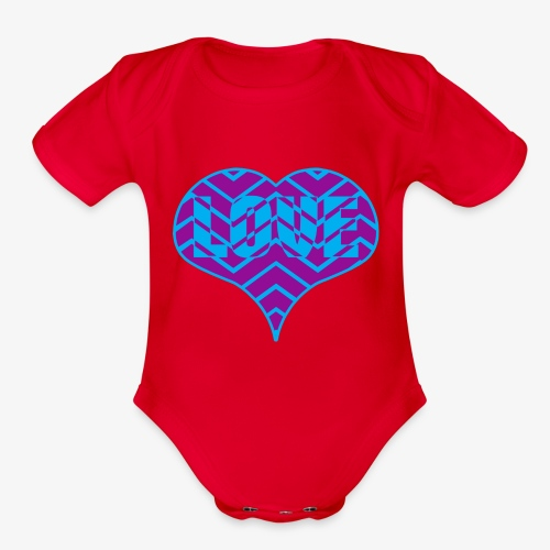 CHEVRON LOVE HEART - Organic Short Sleeve Baby Bodysuit