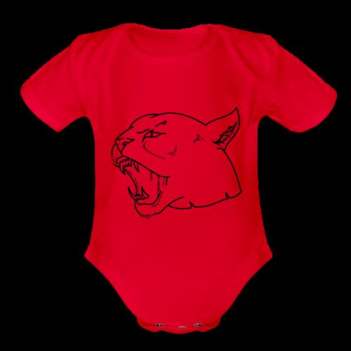 Panther head - Organic Short Sleeve Baby Bodysuit