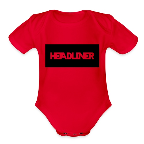 Black And White Headliner Logo - Organic Short Sleeve Baby Bodysuit