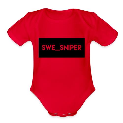 Swe_Sniper Logo - Organic Short Sleeve Baby Bodysuit