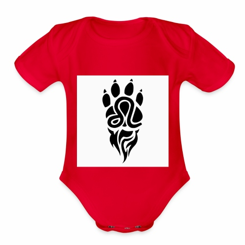 Black Leo Zodiac Sign - Organic Short Sleeve Baby Bodysuit