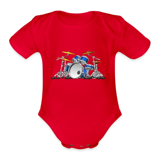 Drum Set Cartoon - Organic Short Sleeve Baby Bodysuit