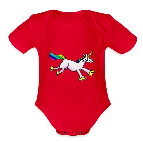 Unicorn Dance Party - Organic Short Sleeve Baby Bodysuit
