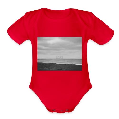 Black and White Beach Photo by Trevor J. Brown - Organic Short Sleeve Baby Bodysuit