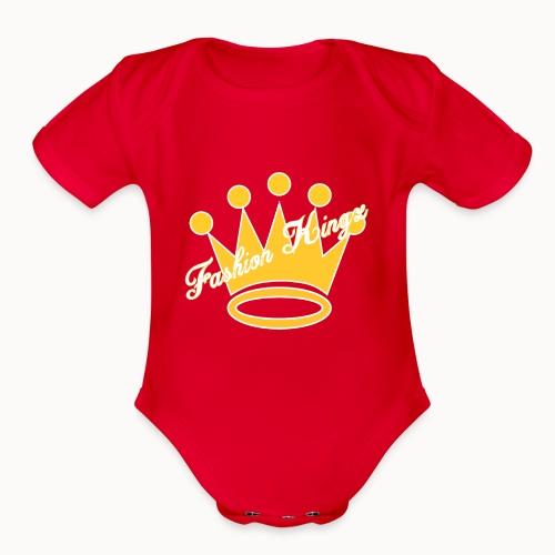 Fashion Kingz Clothing Official Crown Logo - Organic Short Sleeve Baby Bodysuit
