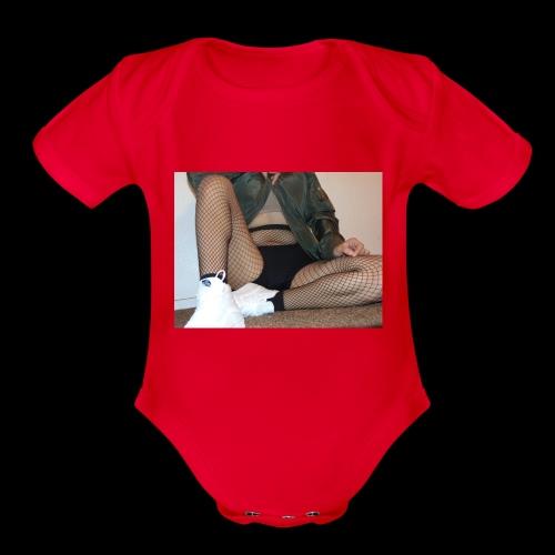 self modeled - Organic Short Sleeve Baby Bodysuit