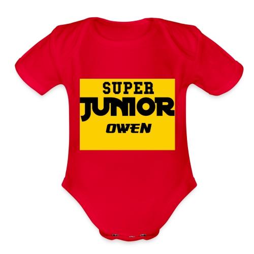 SJO Big DF text - Organic Short Sleeve Baby Bodysuit