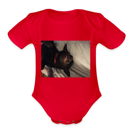 Raine dog - Organic Short Sleeve Baby Bodysuit
