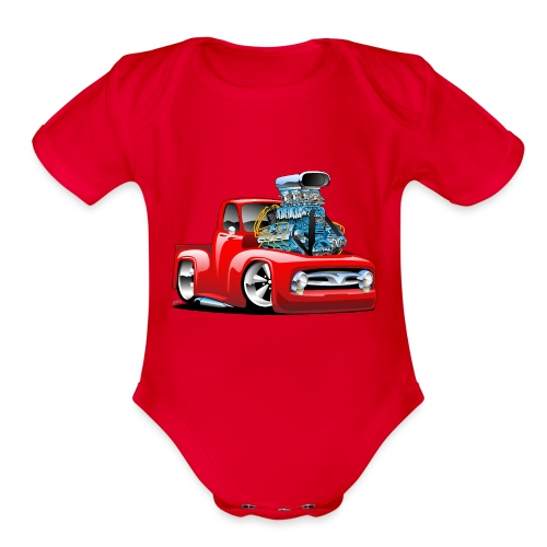 American Classic Hot Rod Pickup Truck Cartoon - Organic Short Sleeve Baby Bodysuit