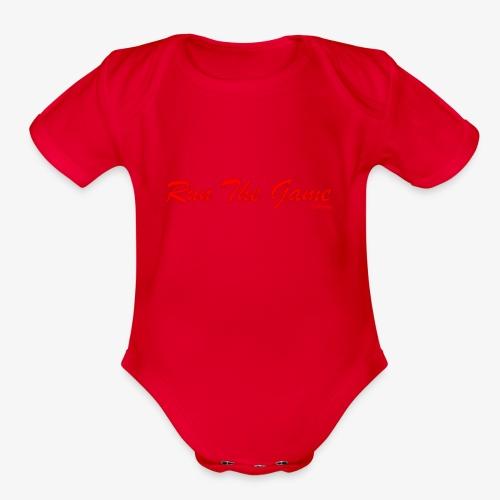 Run The Game Original Long Logo Design - Organic Short Sleeve Baby Bodysuit