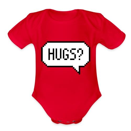 Hugs Pixelart Speech Bubble - Organic Short Sleeve Baby Bodysuit