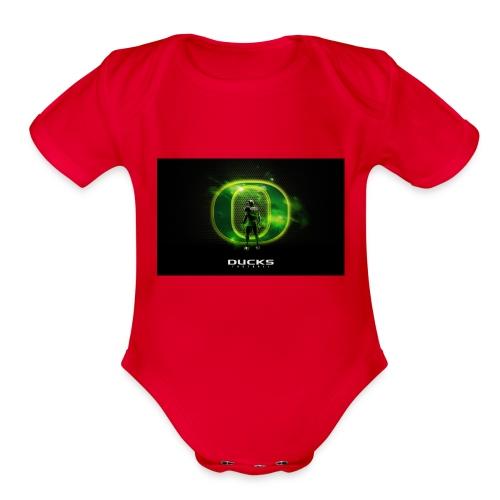 ducks_football_wallpaper - Organic Short Sleeve Baby Bodysuit