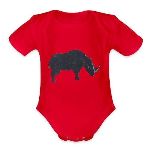 Rhino print - Organic Short Sleeve Baby Bodysuit