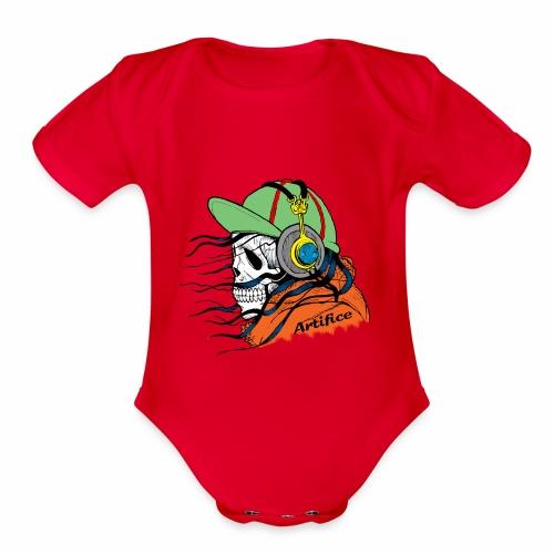 Music Man Skull - Organic Short Sleeve Baby Bodysuit