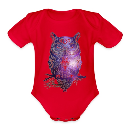 All Seeing Owl - Organic Short Sleeve Baby Bodysuit