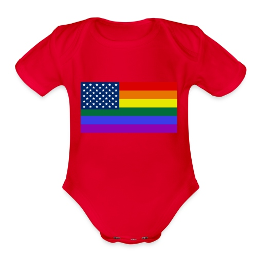 LGBT United States Flag - Organic Short Sleeve Baby Bodysuit