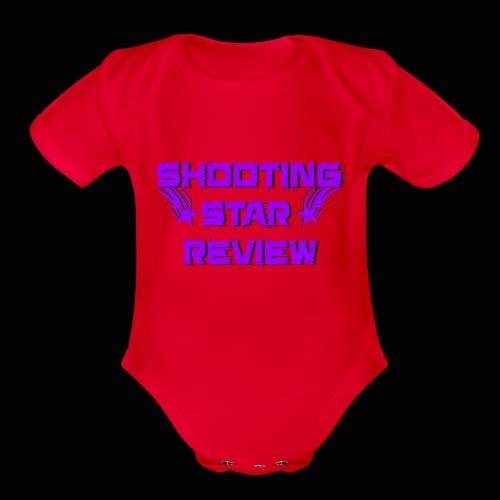 Shooting Star Review Purple Logo - Organic Short Sleeve Baby Bodysuit