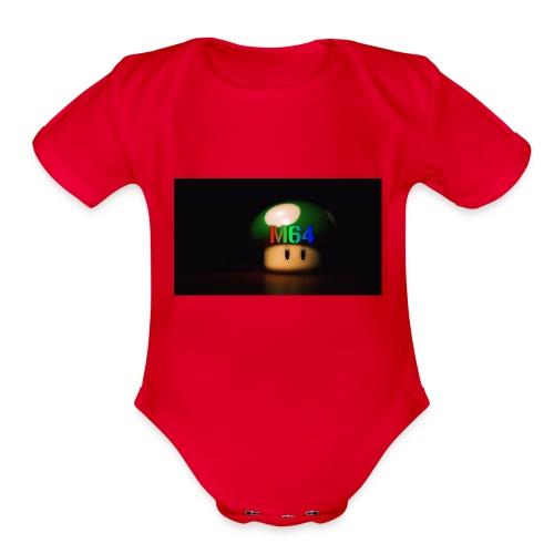 mushroom design - Organic Short Sleeve Baby Bodysuit