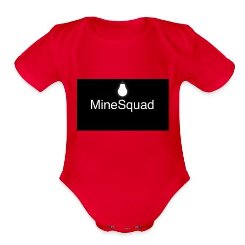 #MineSquad Thinking Logo - Organic Short Sleeve Baby Bodysuit
