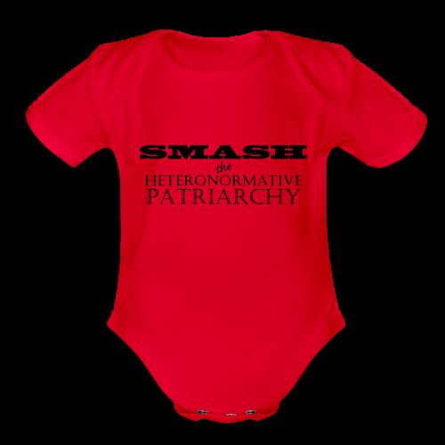 (Kids/Black) Smash the Heteronormative Patriarchy - Organic Short Sleeve Baby Bodysuit