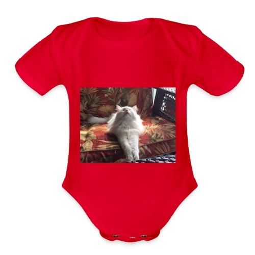 minion cat - Organic Short Sleeve Baby Bodysuit