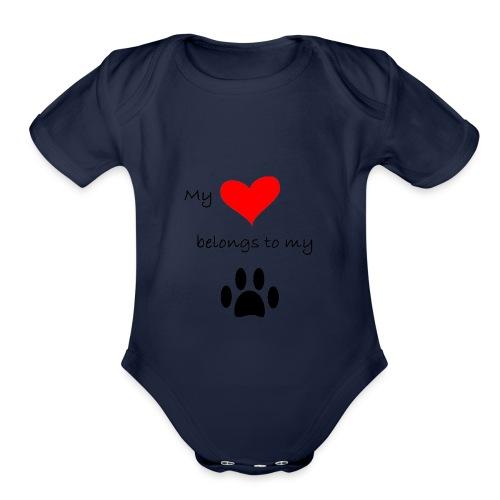 Dog Lovers shirt - My Heart Belongs to my Dog - Organic Short Sleeve Baby Bodysuit