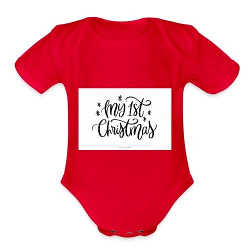 baby first chirstmas - Organic Short Sleeve Baby Bodysuit