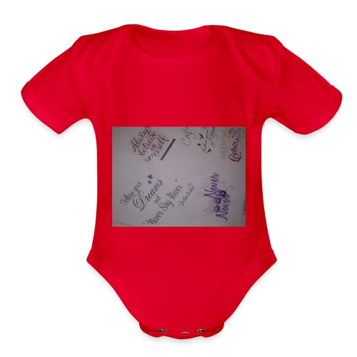 Words of courage - Organic Short Sleeve Baby Bodysuit