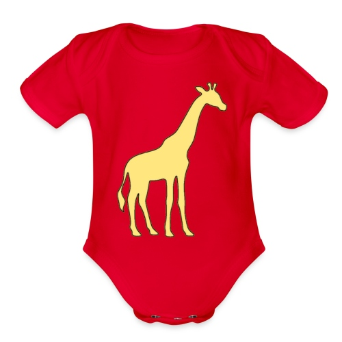 yellow giraffe - Organic Short Sleeve Baby Bodysuit