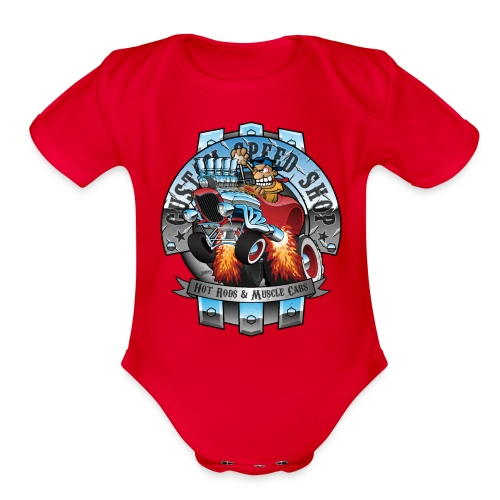 Custom Speed Shop Hot Rods and Muscle Cars Illustr - Organic Short Sleeve Baby Bodysuit