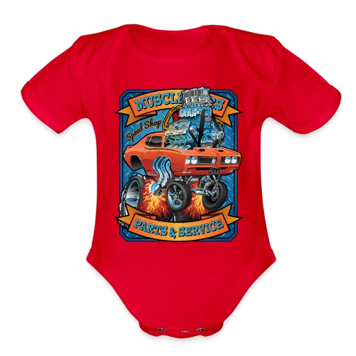 Classic Sixties Muscle Car Parts & Service Cartoon - Organic Short Sleeve Baby Bodysuit
