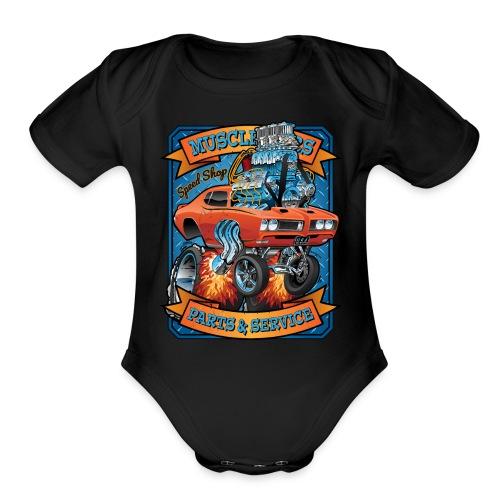 Classic Sixties Muscle Car Parts & Service Cartoon - Organic Short Sleeve Baby Bodysuit