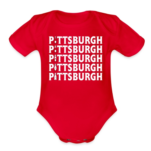 Ketch Up in PGH (Red) - Organic Short Sleeve Baby Bodysuit
