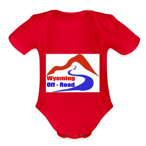 Wyoming Off Road Logo - Organic Short Sleeve Baby Bodysuit