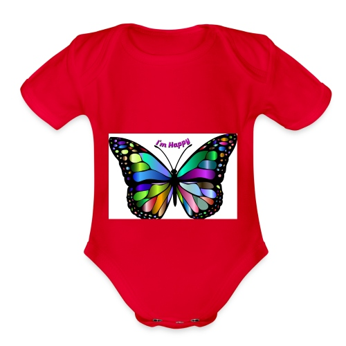 Happy Butterfly - Organic Short Sleeve Baby Bodysuit