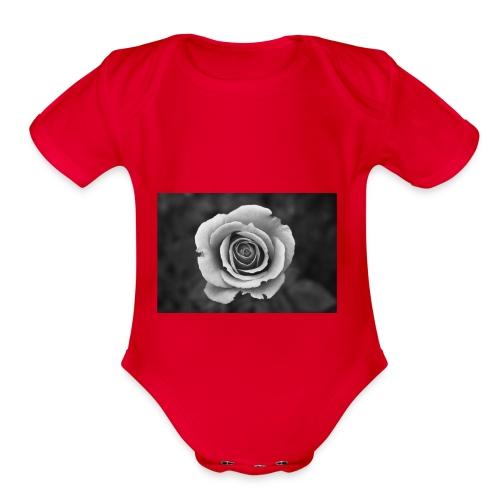 dark rose - Organic Short Sleeve Baby Bodysuit