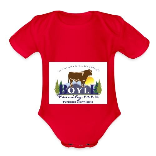 Farm logo - Organic Short Sleeve Baby Bodysuit