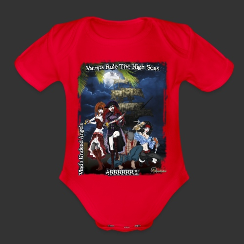 Vampire Pirates Full BG - Organic Short Sleeve Baby Bodysuit