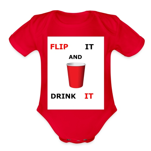 Flip It And Drink It - Organic Short Sleeve Baby Bodysuit