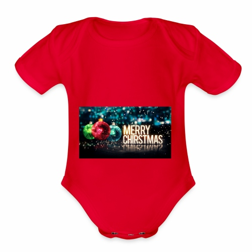 Merry Christmas Balls - Organic Short Sleeve Baby Bodysuit