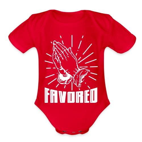 Favored - Alt. Design (White Letters) - Organic Short Sleeve Baby Bodysuit