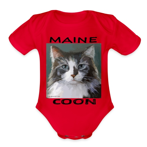 Maine Coon Cat - Organic Short Sleeve Baby Bodysuit