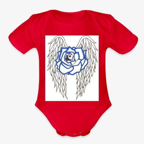 Flying rose - Organic Short Sleeve Baby Bodysuit