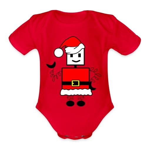 Robot Christmas - Organic Short Sleeve Baby Bodysuit
