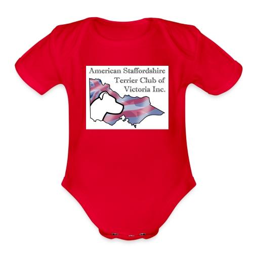 ASTCV Logo Colour on White - Organic Short Sleeve Baby Bodysuit