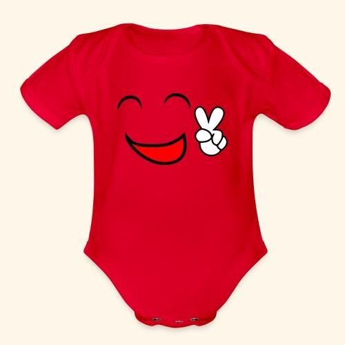 Comic smile - Organic Short Sleeve Baby Bodysuit