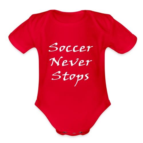 Soccer never stops - Organic Short Sleeve Baby Bodysuit