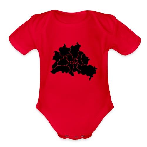 Berlin map, districts - Organic Short Sleeve Baby Bodysuit