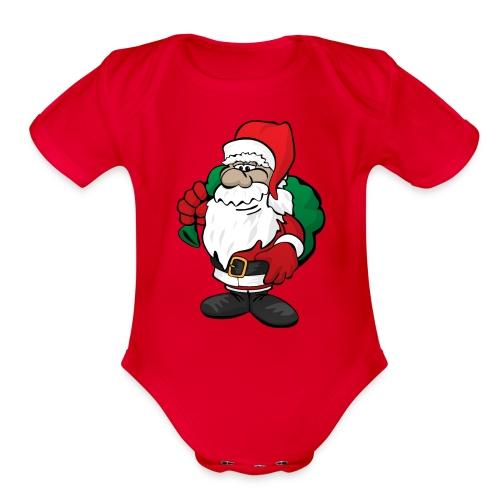 Santa Claus Cartoon Illustration - Organic Short Sleeve Baby Bodysuit