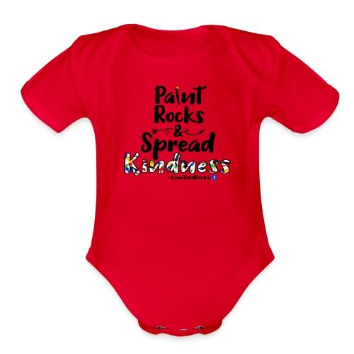 Paint Rocks, Spread Kindness_LawtonRocks - Organic Short Sleeve Baby Bodysuit